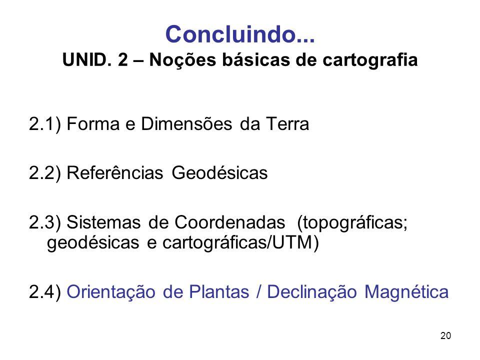 Concluindo... UNID. 2 – Noções básicas de cartografia