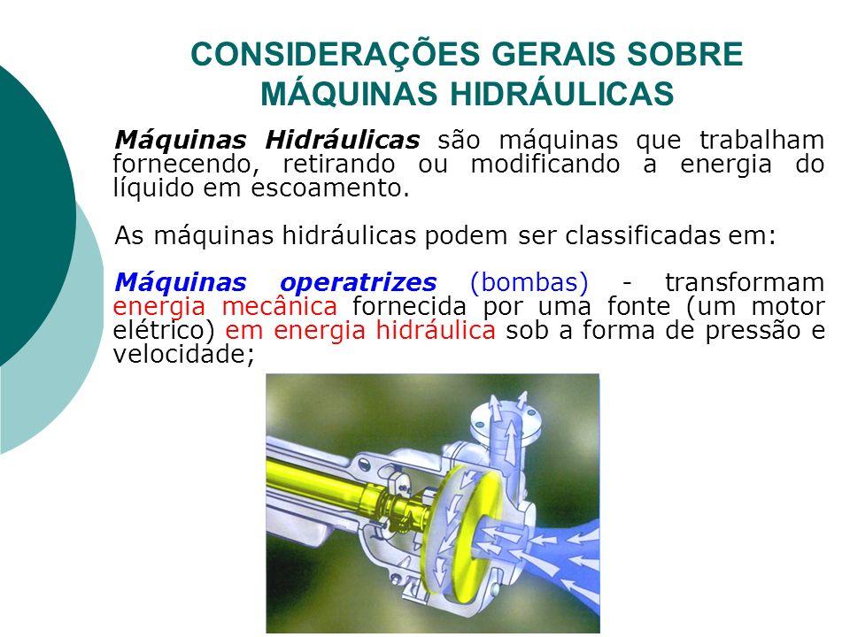 CONSIDERAÇÕES GERAIS SOBRE MÁQUINAS HIDRÁULICAS