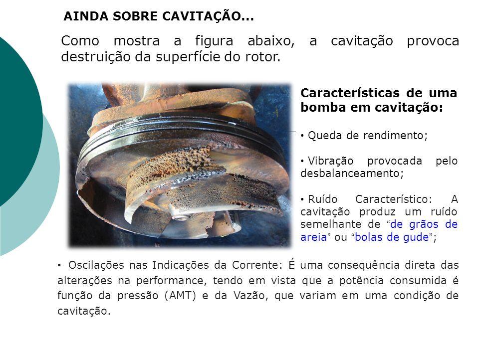 AINDA SOBRE CAVITAÇÃO... Como mostra a figura abaixo, a cavitação provoca destruição da superfície do rotor.