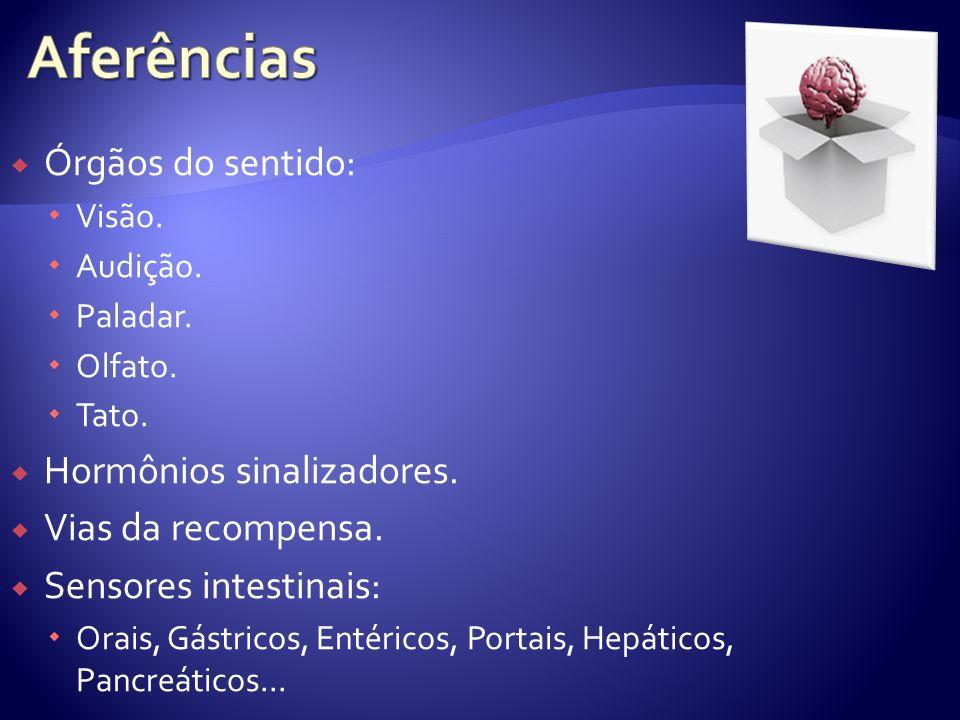 Aferências Órgãos do sentido: Hormônios sinalizadores.