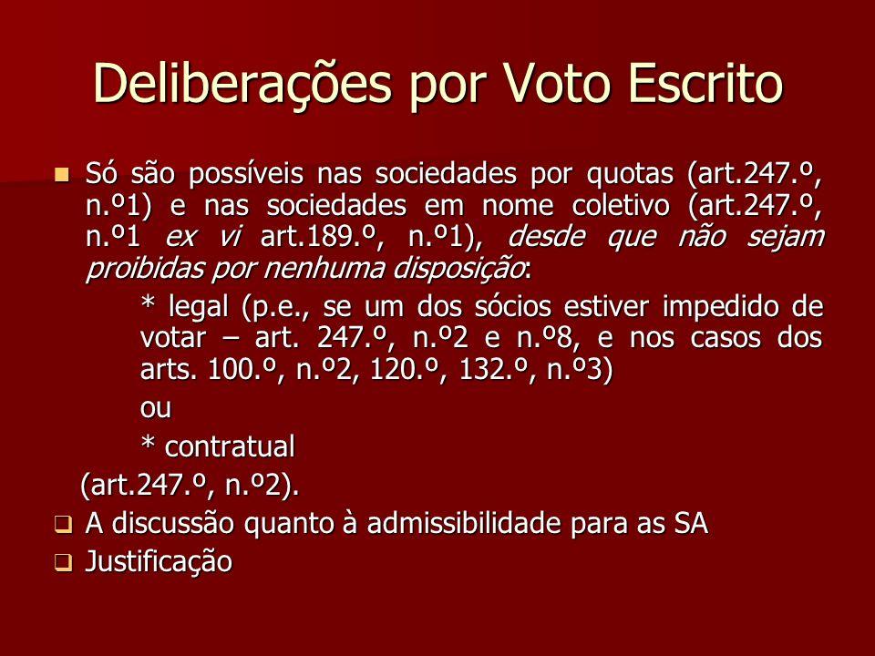 Deliberações por Voto Escrito