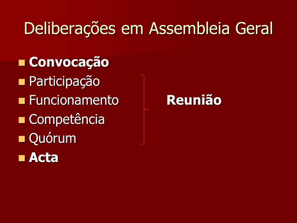 Deliberações em Assembleia Geral