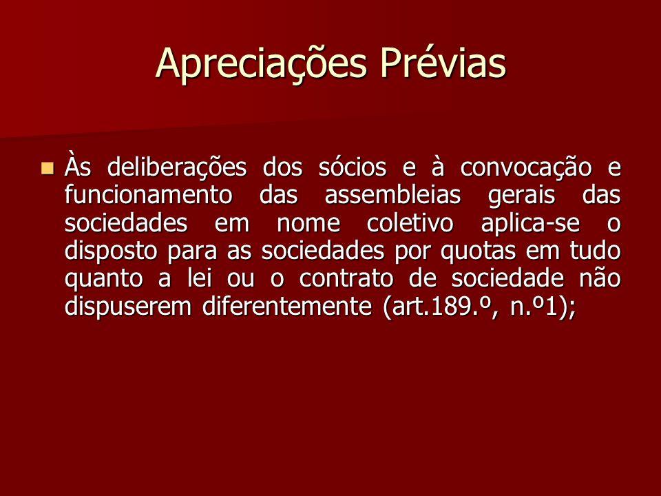 Apreciações Prévias