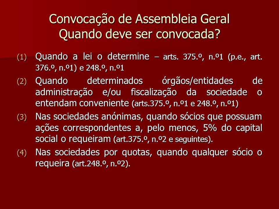 Convocação de Assembleia Geral Quando deve ser convocada