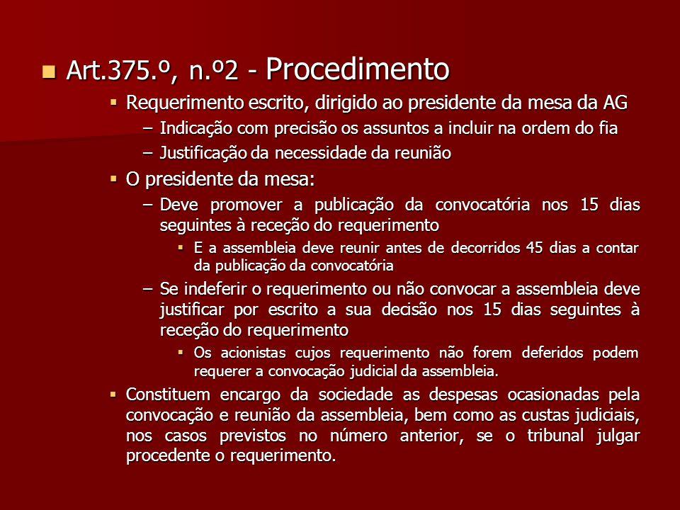 Art.375.º, n.º2 - Procedimento Requerimento escrito, dirigido ao presidente da mesa da AG.