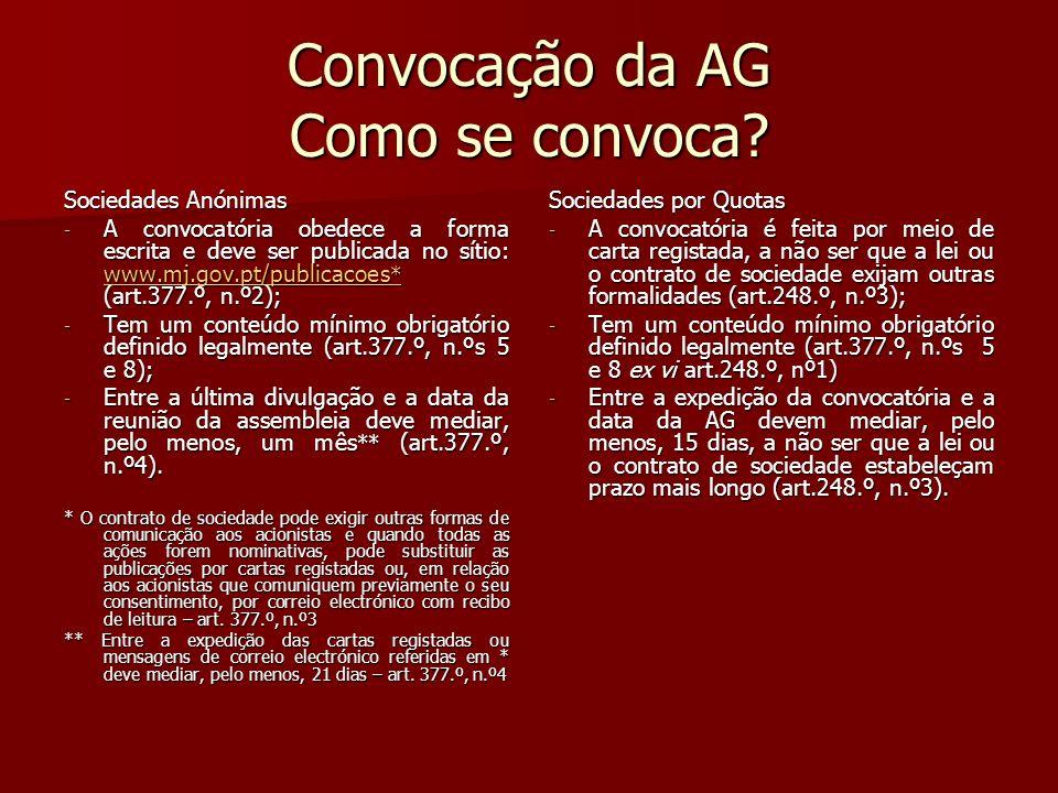 Convocação da AG Como se convoca