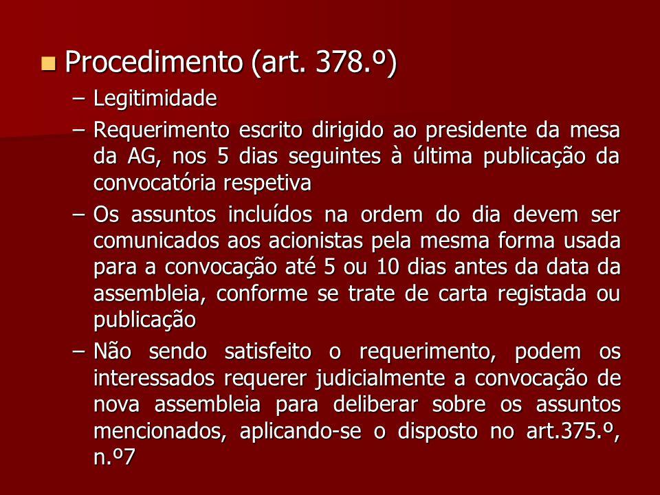 Procedimento (art. 378.º) Legitimidade