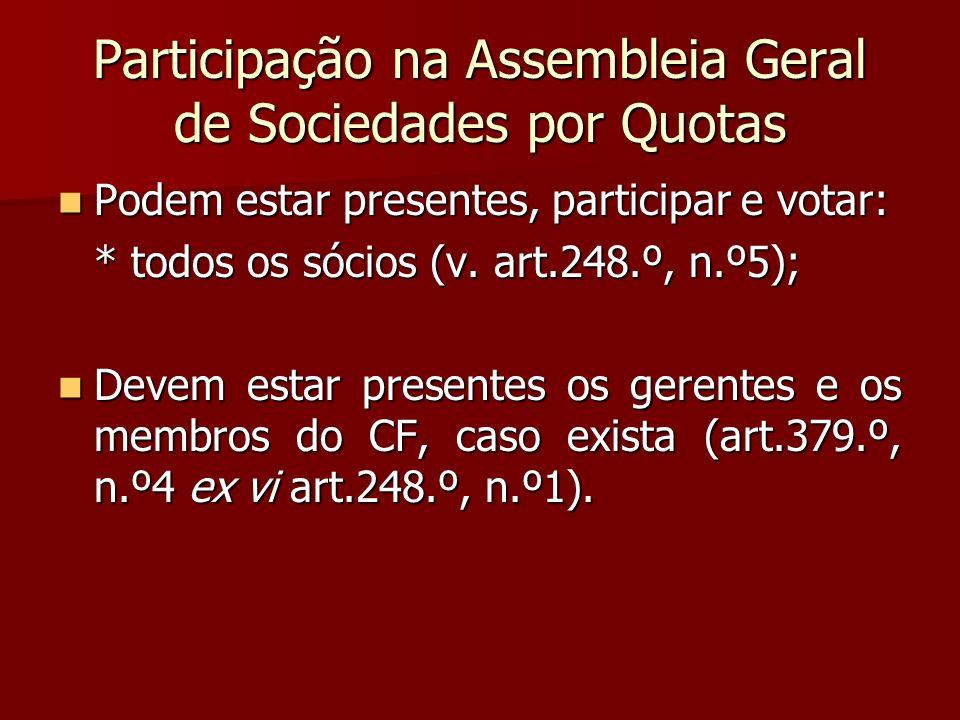 Participação na Assembleia Geral de Sociedades por Quotas