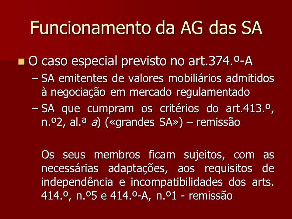 Funcionamento da AG das SA