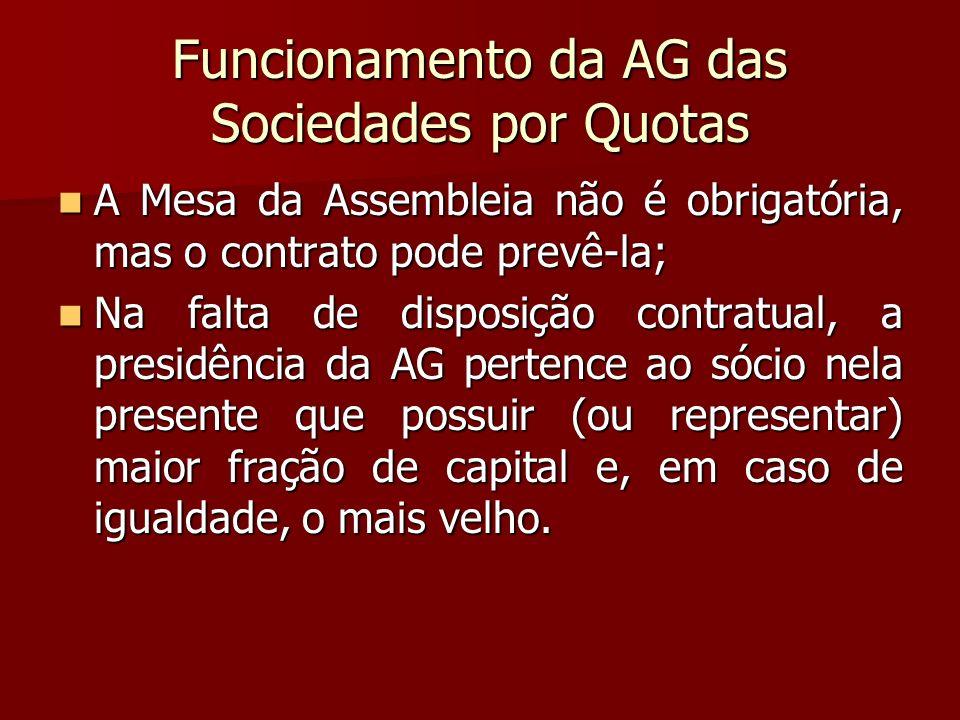 Funcionamento da AG das Sociedades por Quotas