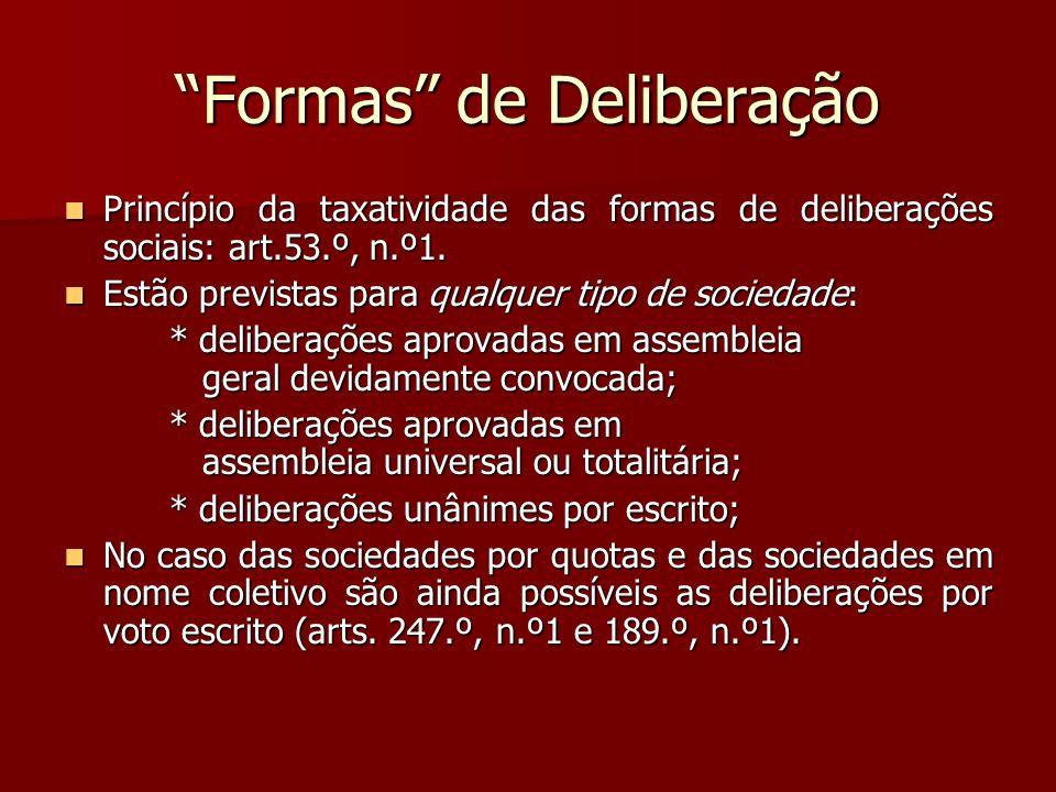 Formas de Deliberação