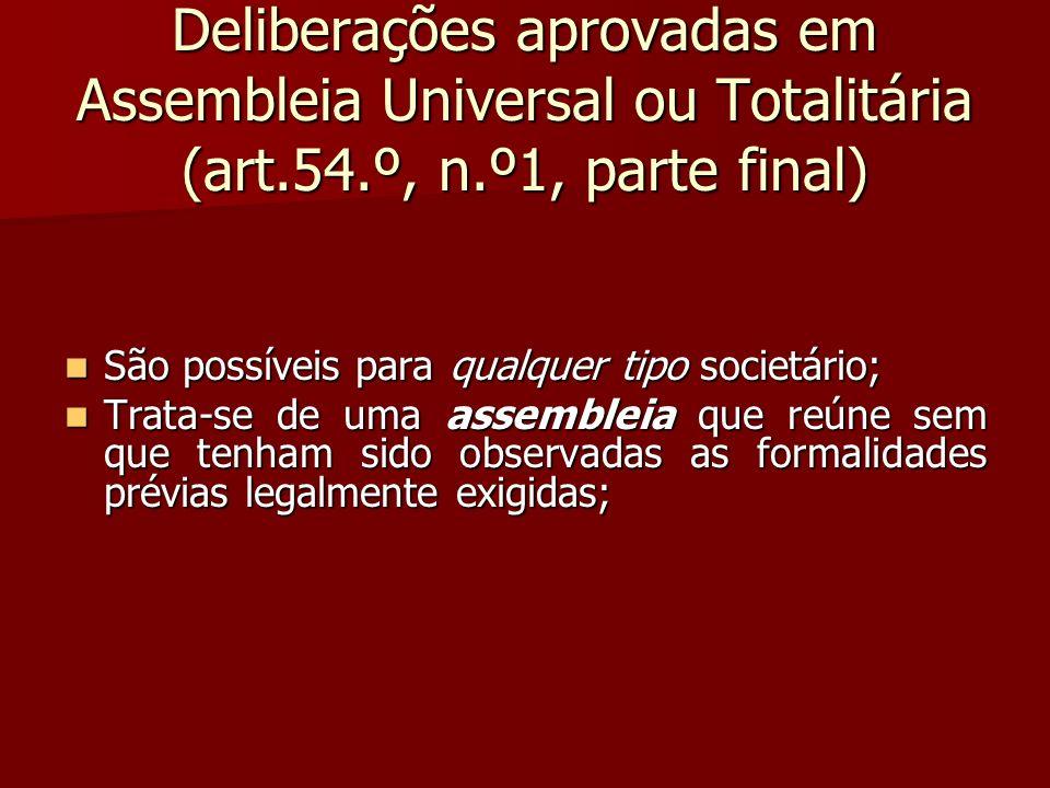 Deliberações aprovadas em Assembleia Universal ou Totalitária (art. 54