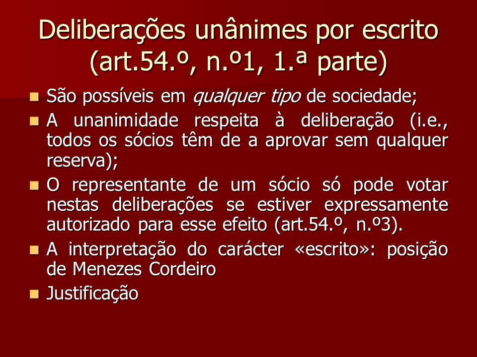 Deliberações unânimes por escrito (art.54.º, n.º1, 1.ª parte)