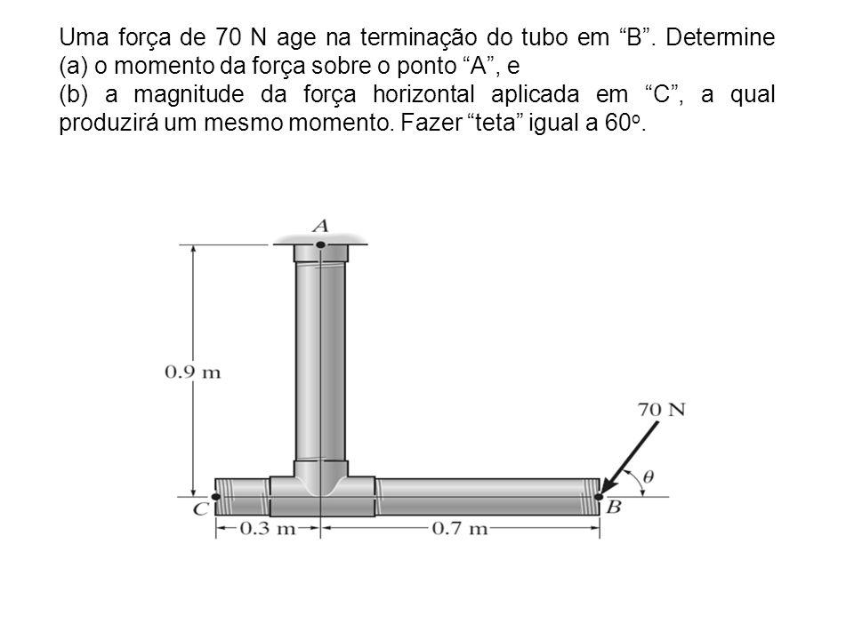 Uma força de 70 N age na terminação do tubo em B