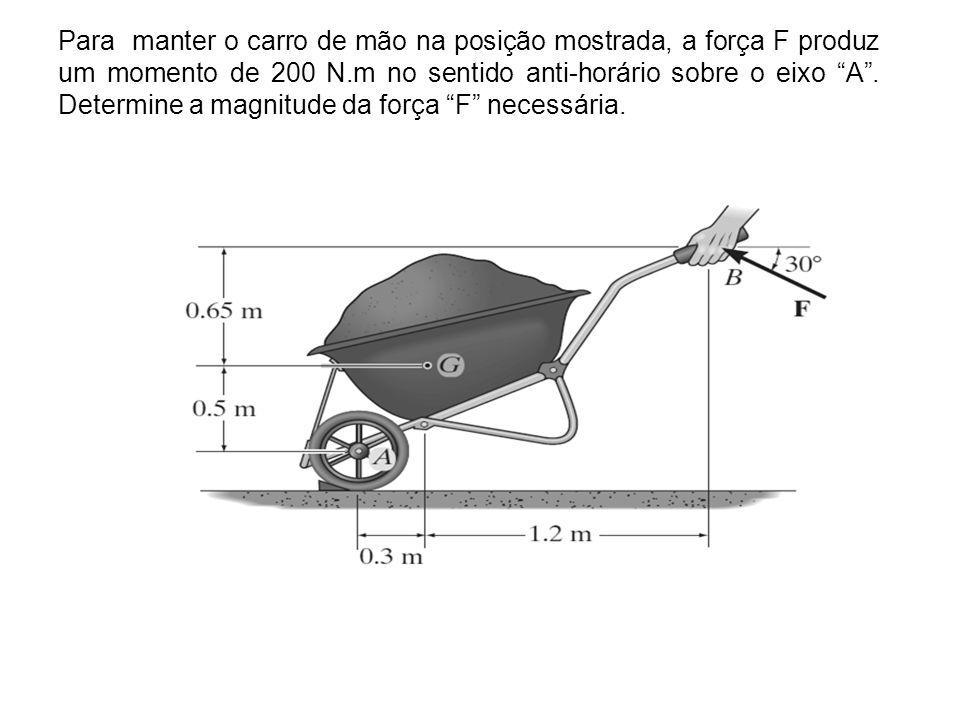 Para manter o carro de mão na posição mostrada, a força F produz um momento de 200 N.m no sentido anti-horário sobre o eixo A .