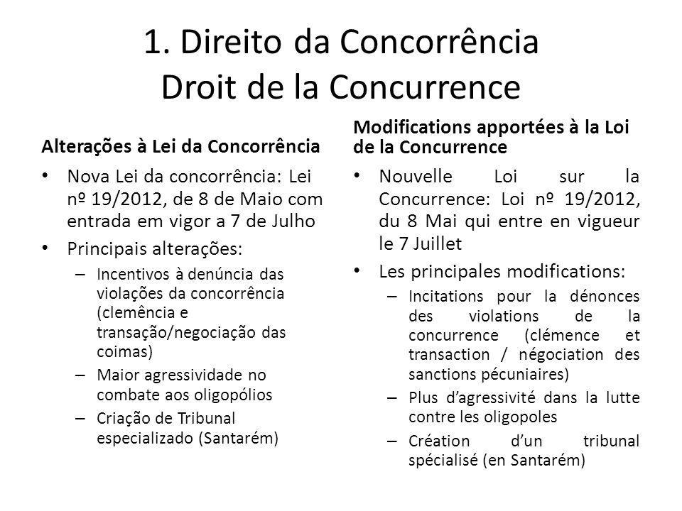 1. Direito da Concorrência Droit de la Concurrence
