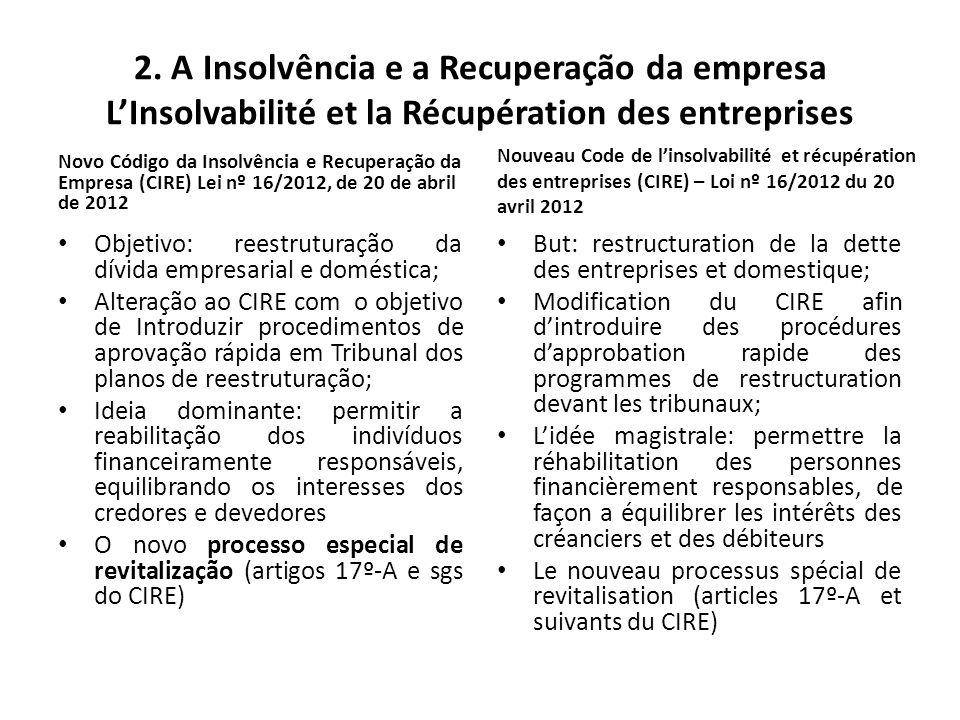 2. A Insolvência e a Recuperação da empresa L'Insolvabilité et la Récupération des entreprises