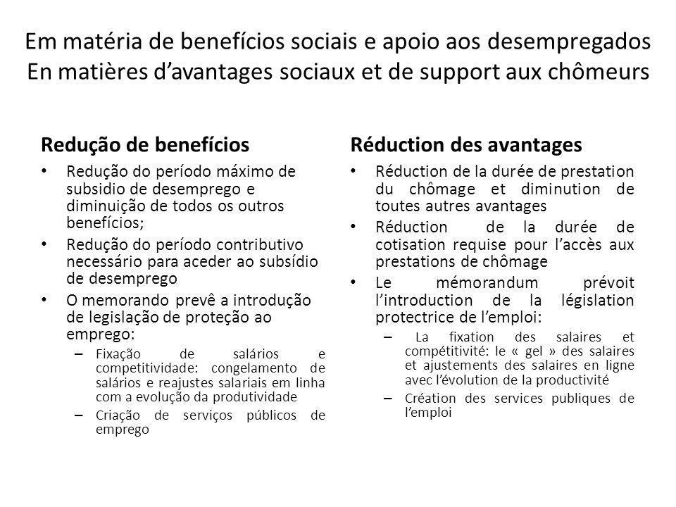 Em matéria de benefícios sociais e apoio aos desempregados En matières d'avantages sociaux et de support aux chômeurs