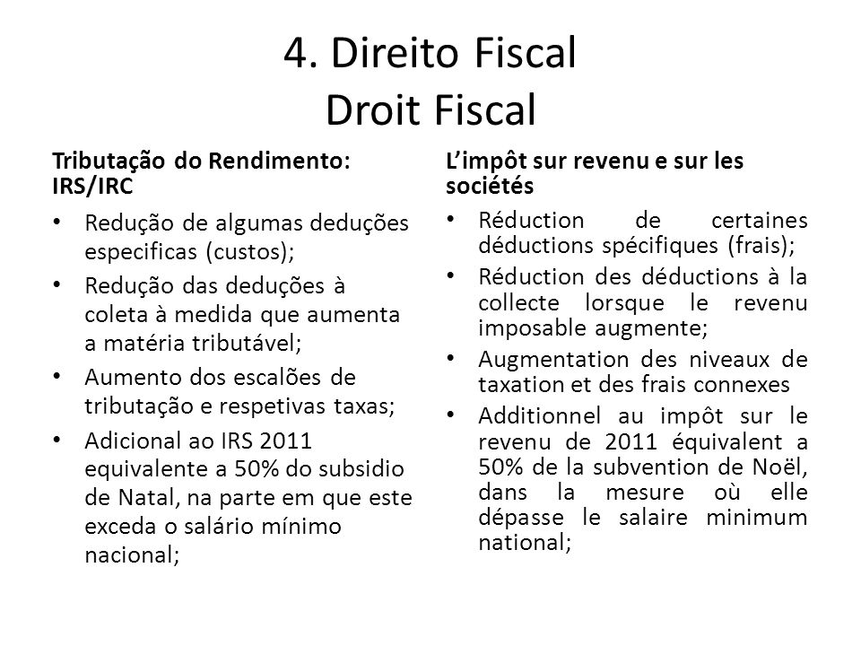 4. Direito Fiscal Droit Fiscal