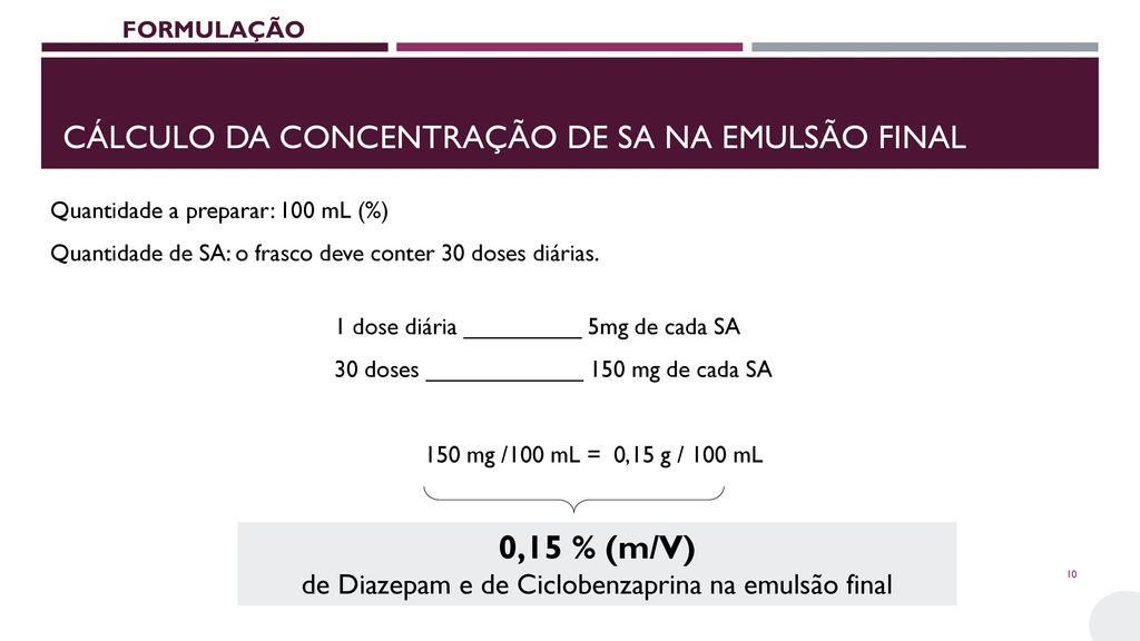 Cálculo da concentração de sa na emulsão final