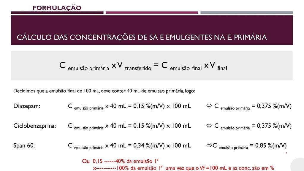 Cálculo das concentrações de SA e emulgentes na e. primária