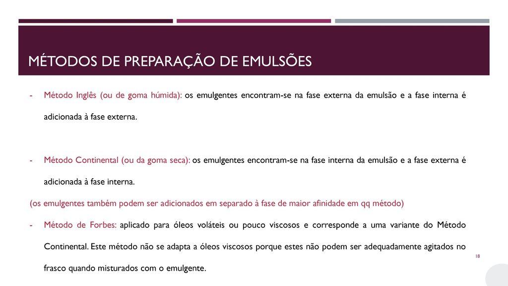Métodos de preparação de emulsões