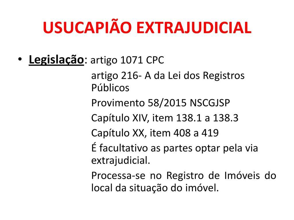 Aula 2 ata notarial e usucapi o extrajudicial fernanda for Via extrajudicial