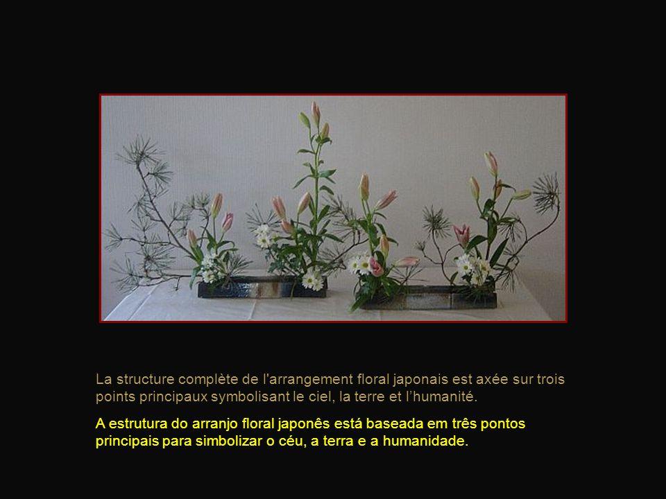 La structure complète de l arrangement floral japonais est axée sur trois points principaux symbolisant le ciel, la terre et l'humanité.
