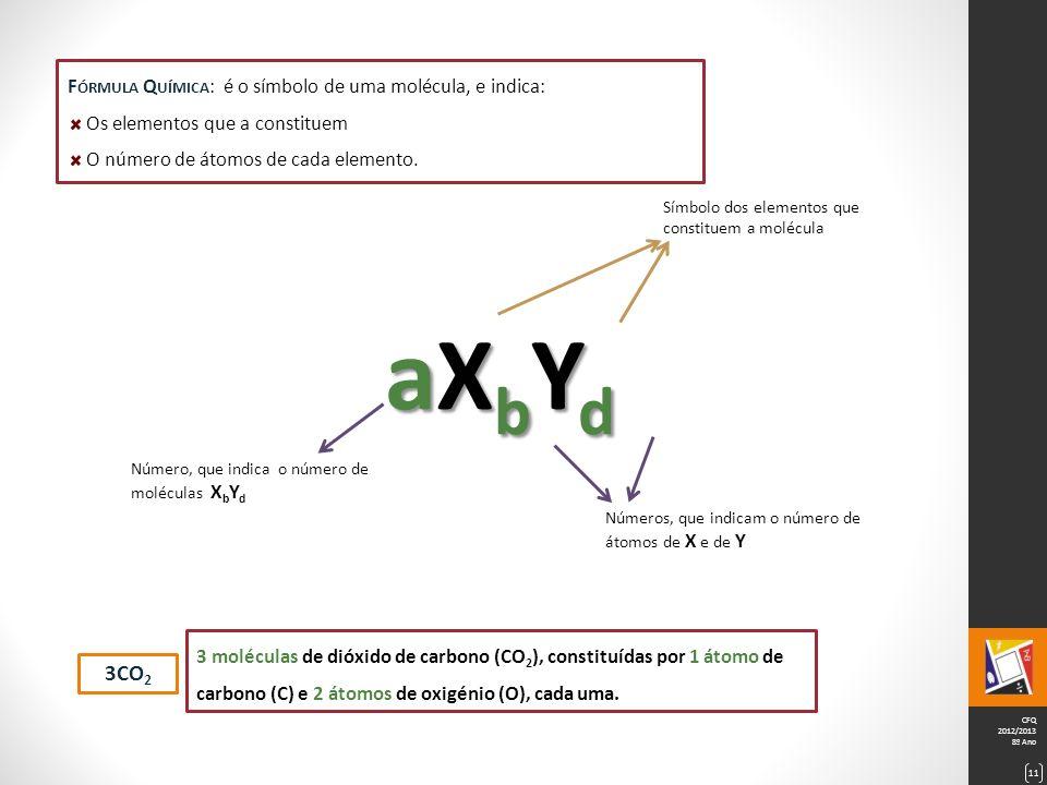 aXbYd 3CO2 Fórmula Química: é o símbolo de uma molécula, e indica: