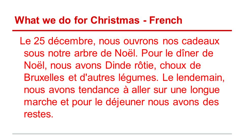 What we do for Christmas - French