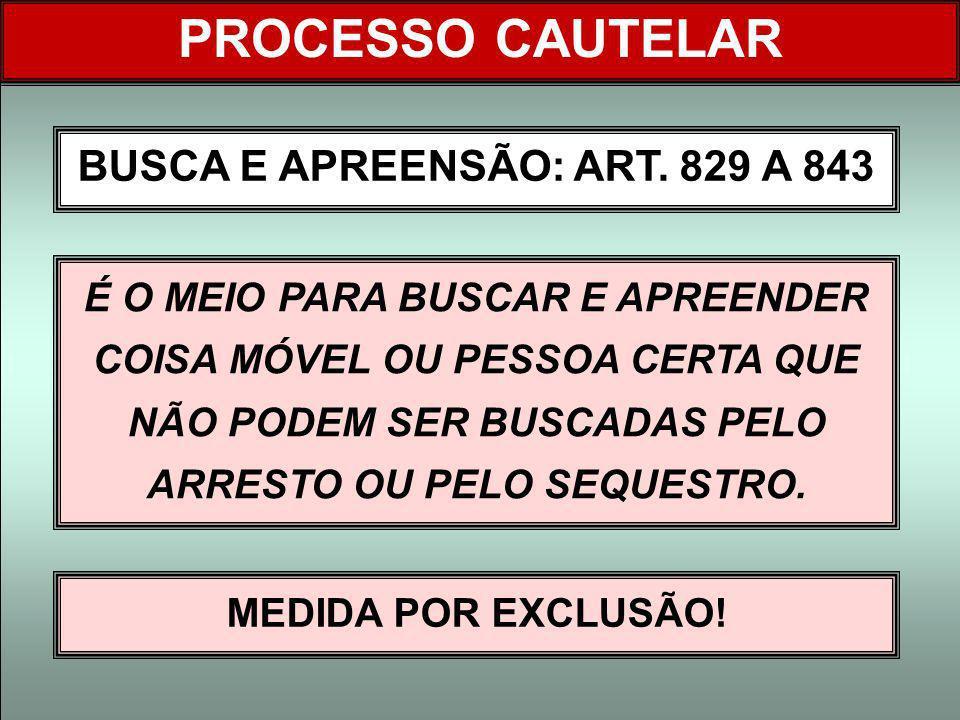 BUSCA E APREENSÃO: ART. 829 A 843