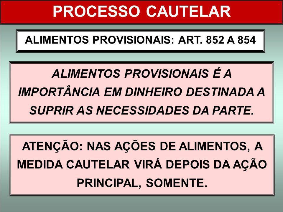 ALIMENTOS PROVISIONAIS: ART. 852 A 854