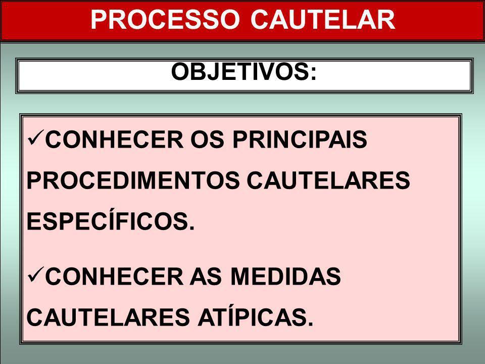 PROCESSO CAUTELAR OBJETIVOS: