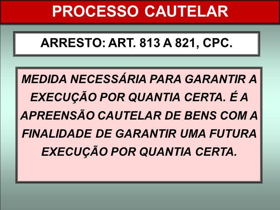 PROCESSO CAUTELAR ARRESTO: ART. 813 A 821, CPC.
