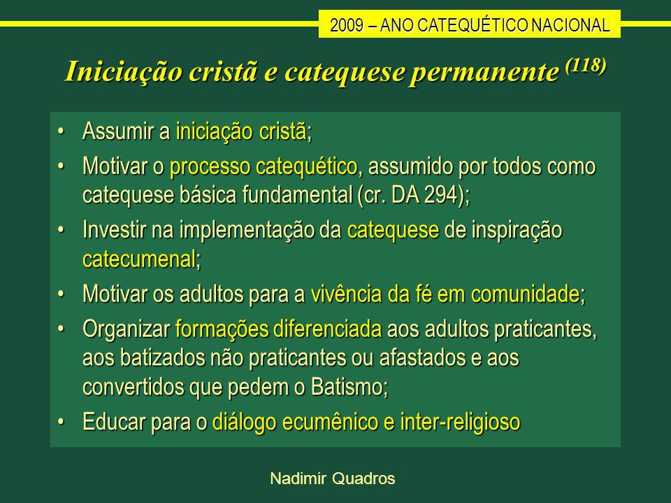Iniciação cristã e catequese permanente (118)