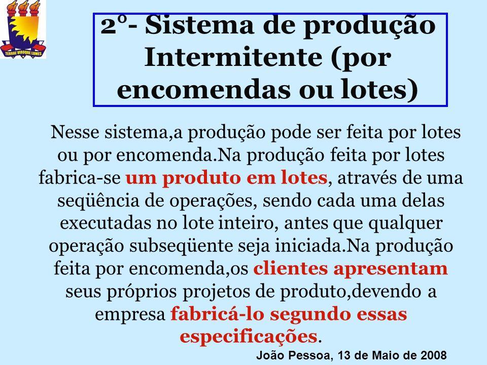 2°- Sistema de produção Intermitente (por encomendas ou lotes)