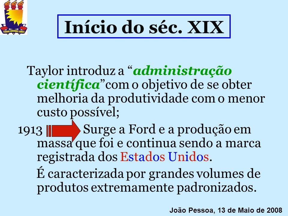 Início do séc. XIXTaylor introduz a administração científica com o objetivo de se obter melhoria da produtividade com o menor custo possível;