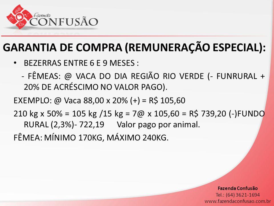 GARANTIA DE COMPRA (REMUNERAÇÃO ESPECIAL):
