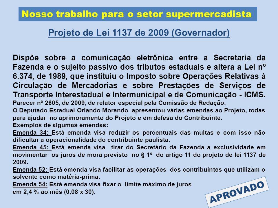 Projeto de Lei 1137 de 2009 (Governador)