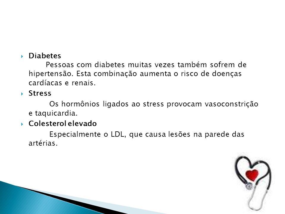 Diabetes Pessoas com diabetes muitas vezes também sofrem de hipertensão. Esta combinação aumenta o risco de doenças cardíacas e renais.