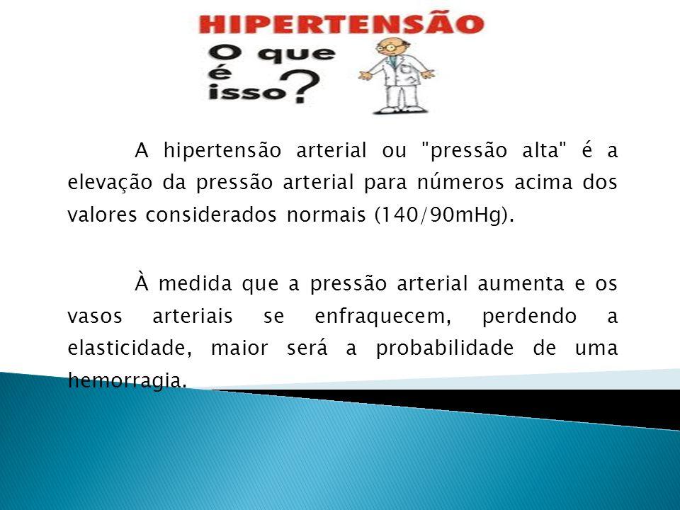 A hipertensão arterial ou pressão alta é a elevação da pressão arterial para números acima dos valores considerados normais (140/90mHg).