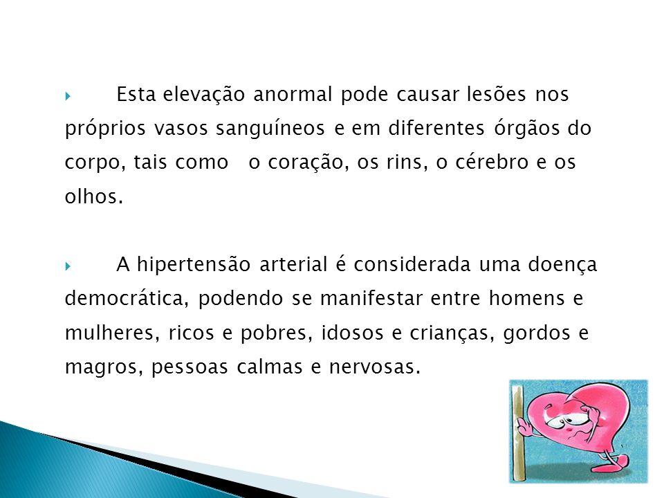 Esta elevação anormal pode causar lesões nos próprios vasos sanguíneos e em diferentes órgãos do corpo, tais como o coração, os rins, o cérebro e os olhos.