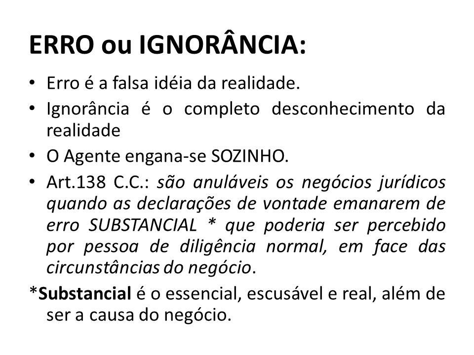 ERRO ou IGNORÂNCIA: Erro é a falsa idéia da realidade.