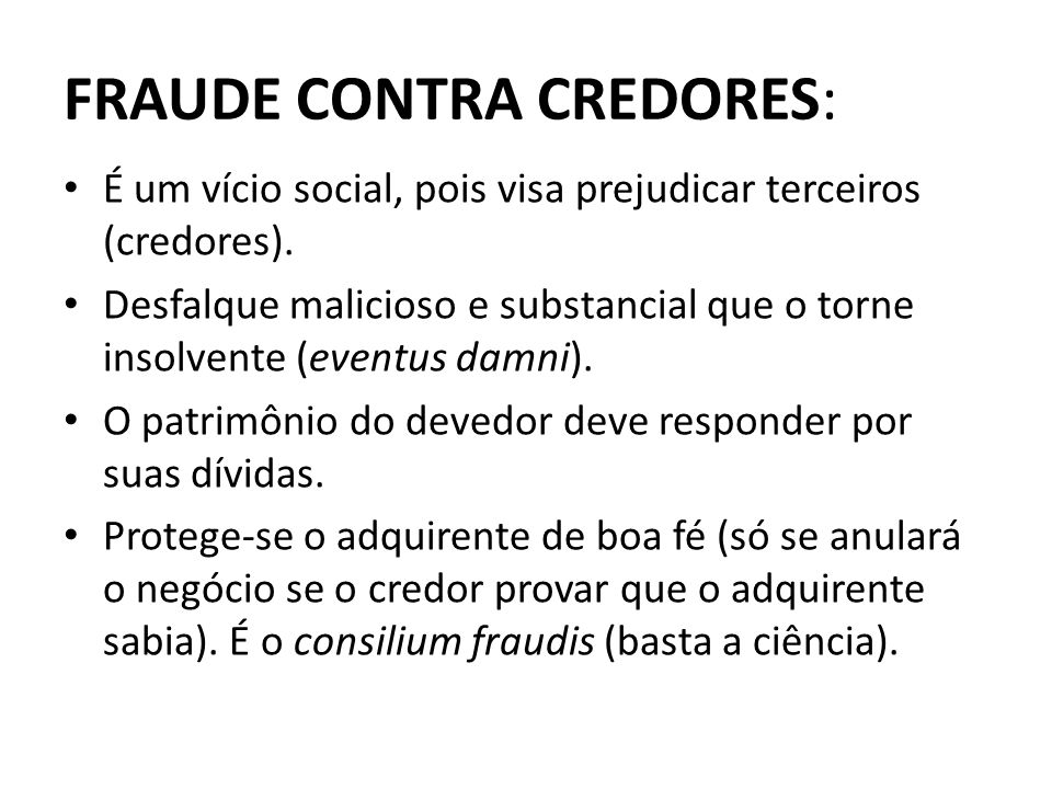 FRAUDE CONTRA CREDORES: