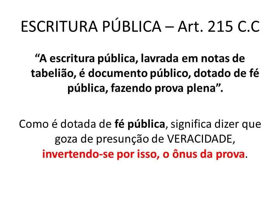 ESCRITURA PÚBLICA – Art. 215 C.C