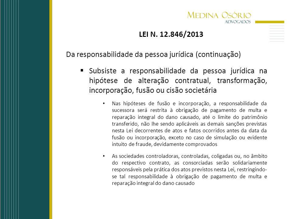 Da responsabilidade da pessoa jurídica (continuação)