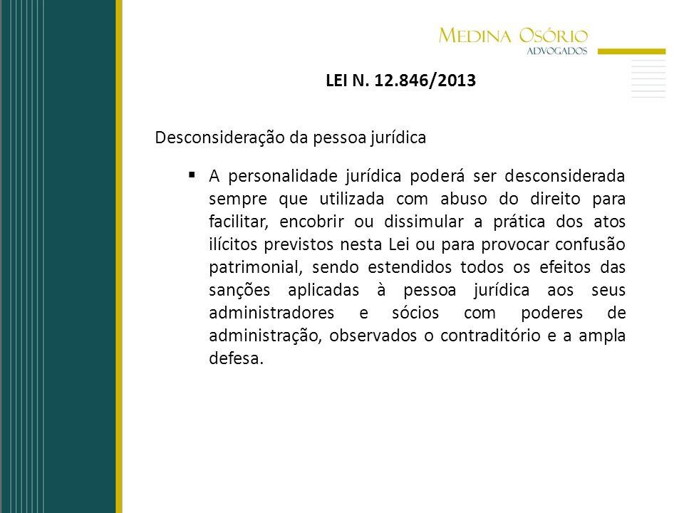 LEI N. 12.846/2013 Desconsideração da pessoa jurídica.