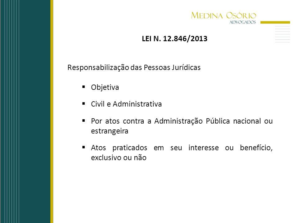 LEI N. 12.846/2013 Responsabilização das Pessoas Jurídicas. Objetiva. Civil e Administrativa.