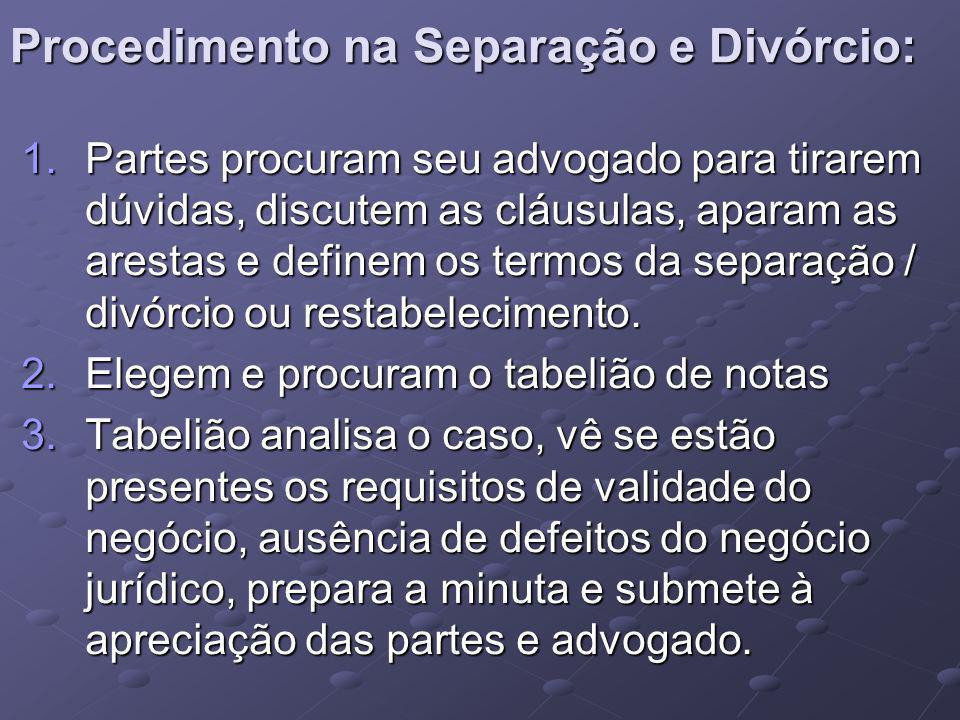 Procedimento na Separação e Divórcio: