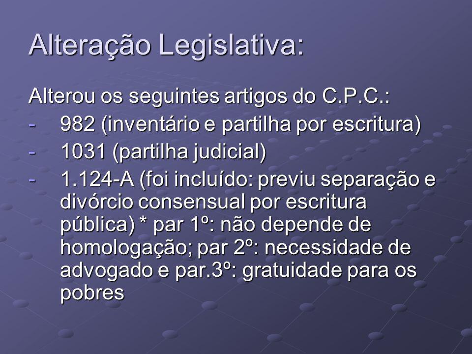 Alteração Legislativa:
